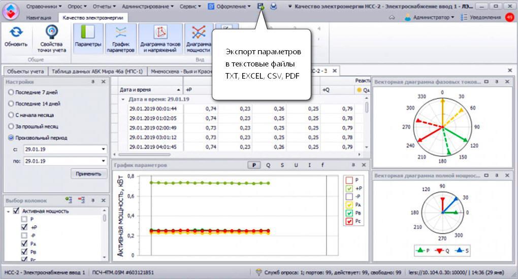 Выгрузка-экспорт параметров качества электропотребления в excel,  pdf, csv