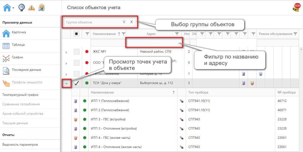 Список объектов учета в веб-интерфейсе