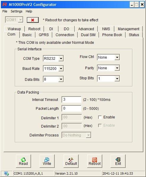 настройка подключения в M1000ProV2 Configurator