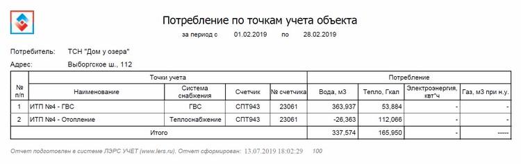 Отчетная форма ЛЭРС - Сводный отчет по точкам учета объекта