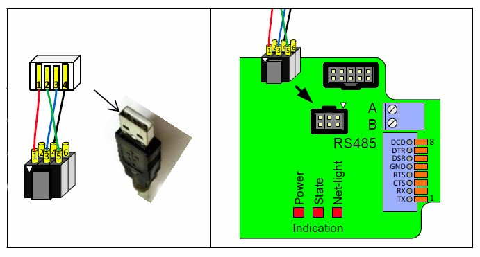 Схема распайки кабеля с IDC-6F коннектором и подключение к плате контроллера ЛЭРС GSM