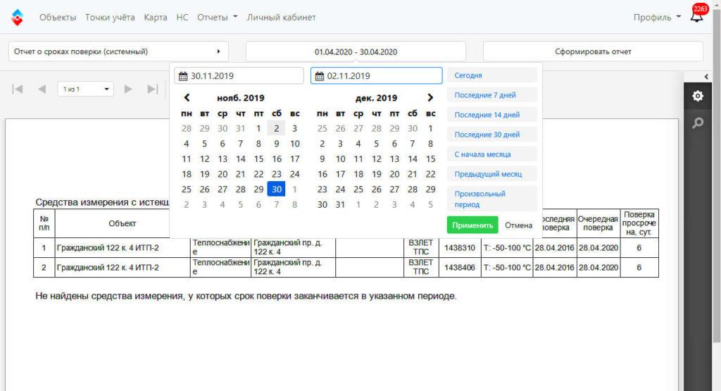 Отчет о сроках поверки приборов учета