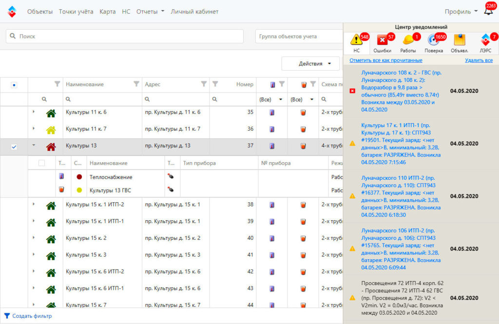 список объектов учета в веб-интерфейсе лэрс учет