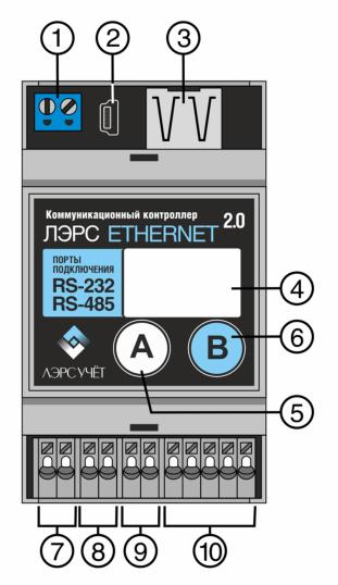 Составные части и интерфейсы Адаптера ЛЭРС Ethernet 2.0