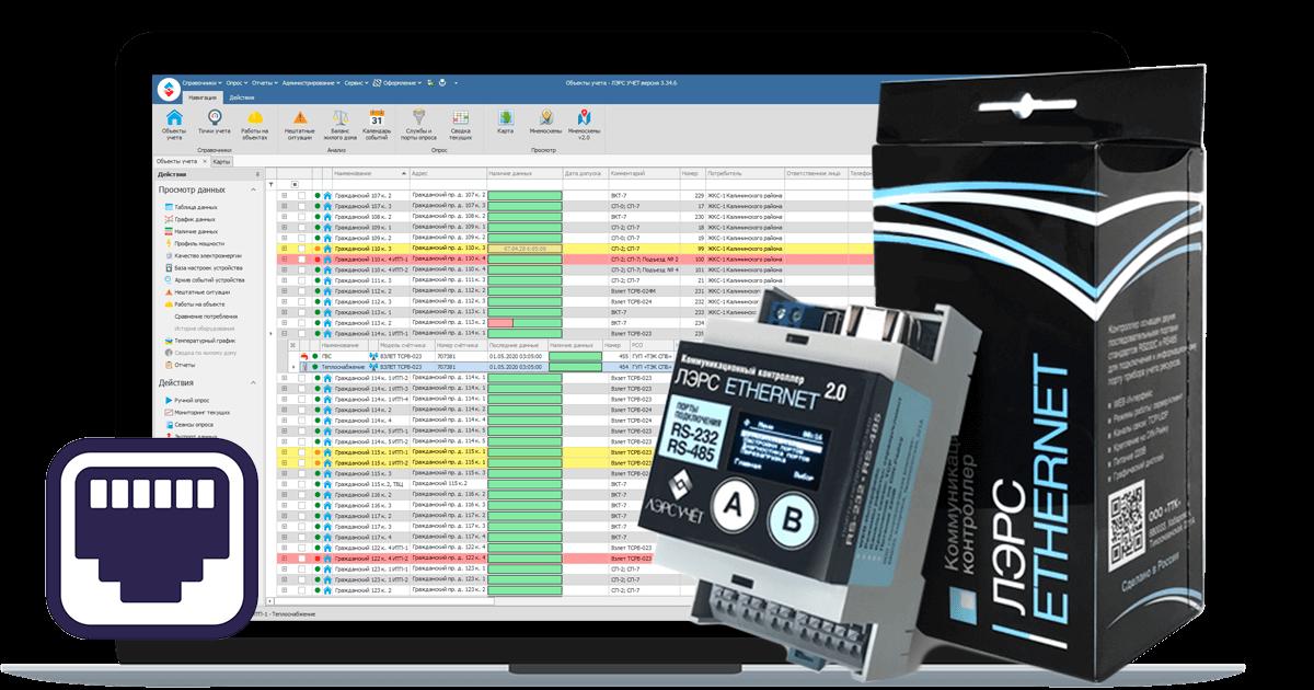 Адаптер ЛЭРС ETHERNET 2.0 для опроса приборов через Интернет